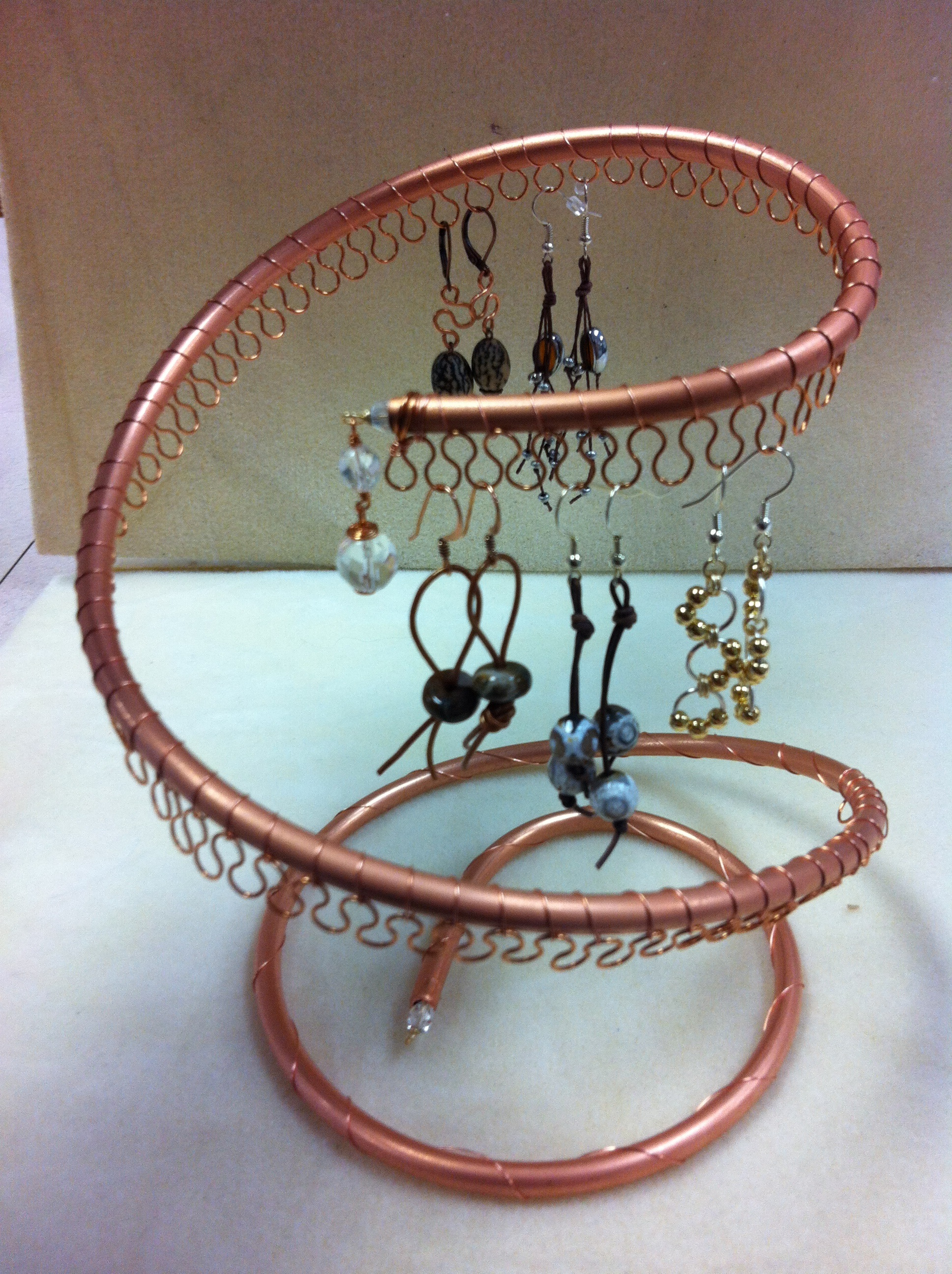 Spiral Copper Earring Tree Holder Organizer Holds Roximately 40pairs Of Earrings